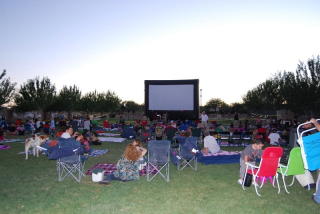 "Rancho Sahuarita, where residents bring their own folding chairs to ""Movies Under The Stars""."