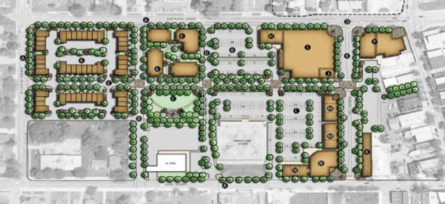 "Concept Plan for Orchard Plaza in Antioch IL. [Image Credit: CMAP's ""Lifestyle Corridor Plan"" for Antioch IL]"