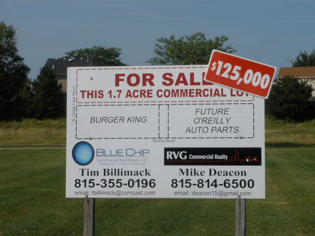 For Sale sign in front of O'Reilly Auto Parts in RLB