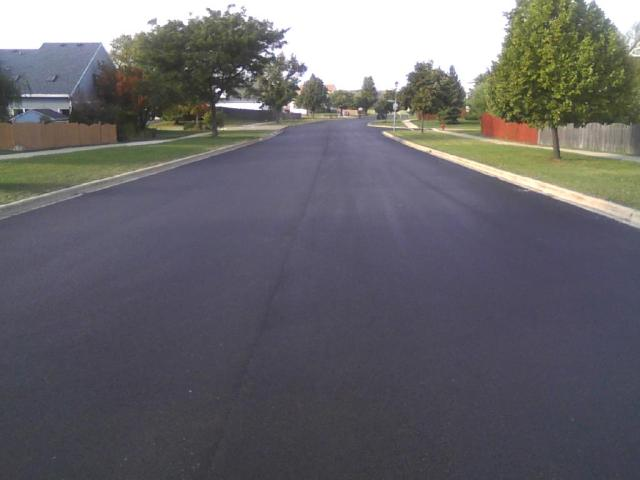 Newly-resurfaced Orchard Lane.