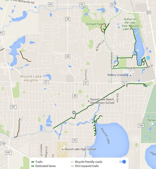 Solid green indicates established and marked bicycle paths/trails.